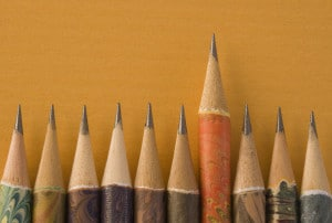 Sharp Pencil Above Peers