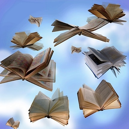 books flying through the air
