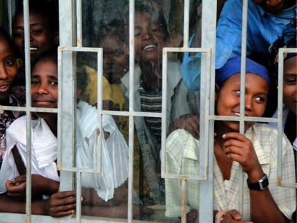 Ethiopian students in a school that was a prison