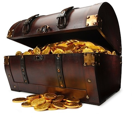 a treasure chest with the lid open