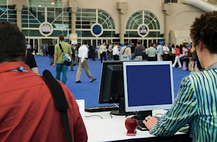 registration staff at a trade show