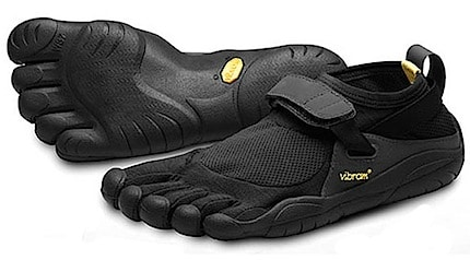 Minimalist or barefoot shoes by Vibram, called five fingers