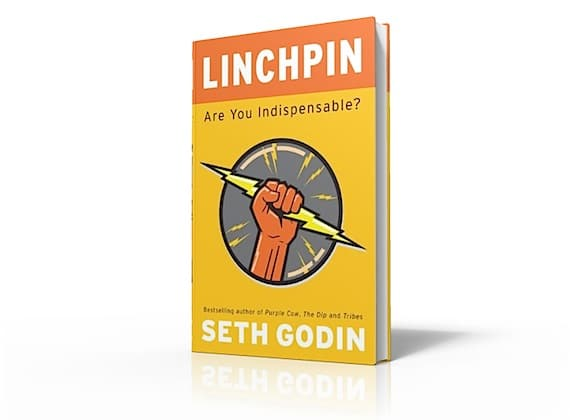 A 3D Rednedring of Seth Godin's new book, Linchpin Cover