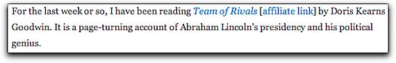 Screenshot of an Affiliate Link