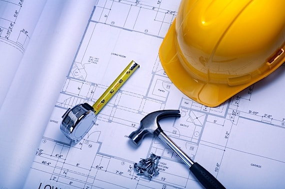 Blueprints with Hard Hat, Hammer, and Tape Measure - Photo courtesy of ©iStockphoto.com/skodonnell, Image #5370498