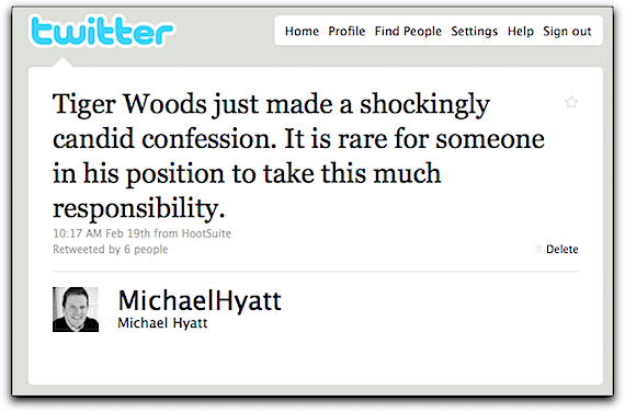 Screenshot of My Tweet Regarding Tiger Woods' Apology