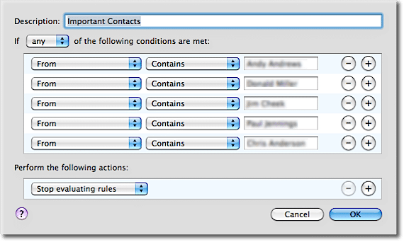 Email Rule: Important Contacts