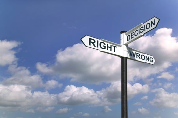 Signpost with Decision, Right, and Wrong - Photo courtesy of ©iStockphoto.com/RTimages, Image #5734511