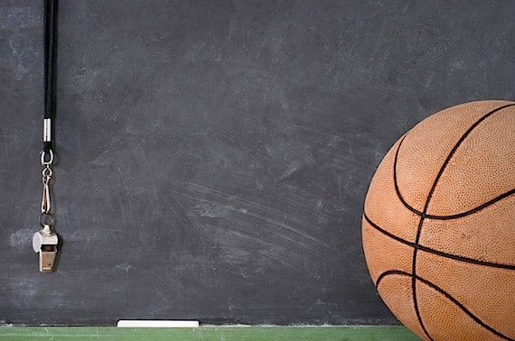 A Basketball and Whistle Against a Blackboard - Photo courtesy of ©iStockphoto.com/dalton00, Image #4077159