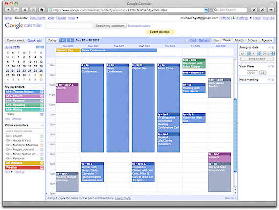 A Week from My Personal Google Calendar