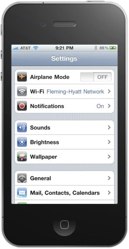 Main Settings Screen on the iPhone