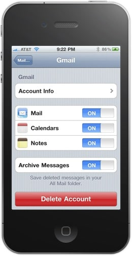 Gmail account in iPhone screenshot