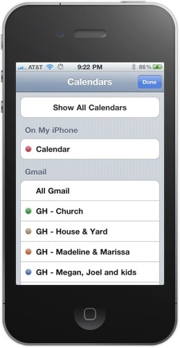 List of Gmail calendars on iPhone screenshot