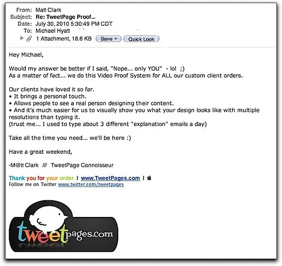 Email Message from Matt Clark, Dated July 30, 2010