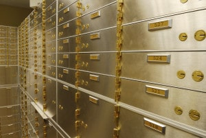 A Wall of Safe Deposit Boxes