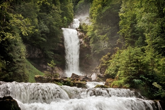 A Large Triple Waterfall in a Forest - Photo courtesy of ©iStockphoto.com/ebrink, Image #10908076