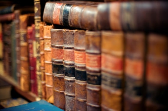 Lines of Old Books with Leather Covers - Photo courtesy of ©iStockphoto.com/naphtalina, Image #5885818