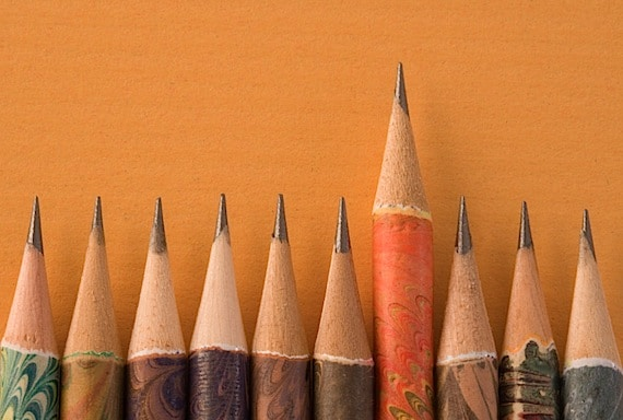 A Row of Pencils with One Standing Out Photo courtesy of ©iStockphoto.com/YinYang, Image #0849948142