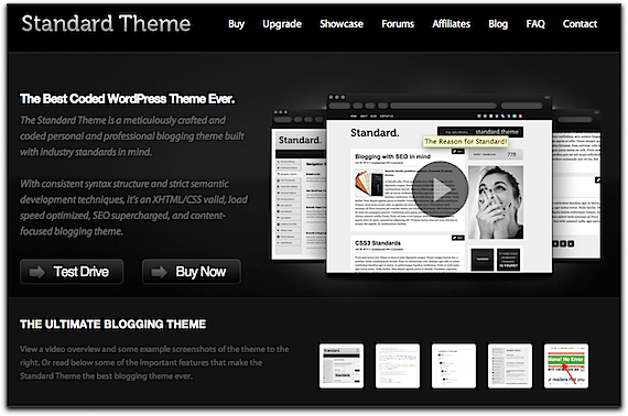 Screenshot of the Standard Theme Web Site