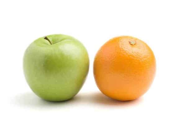 An Apple and an Orange, Side-by-Side - Photo courtesy of ©iStockphoto.com/bluestocking, Image #3501504