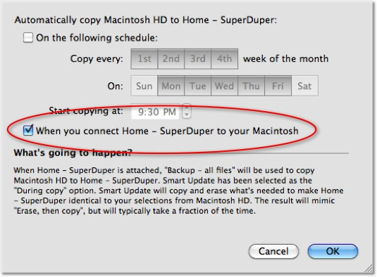 Screenshot of SuperDuper Backup Schedule