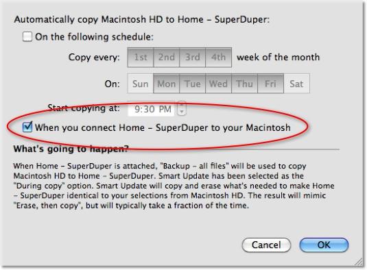 Screenshot of SuperDuper Backup Schedule