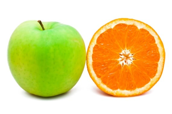 Green Apple and Orange - Photo courtesy of ©iStockphoto.com/iSailorr, Image #11794209