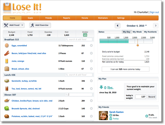 LoseiIt Home Page Example