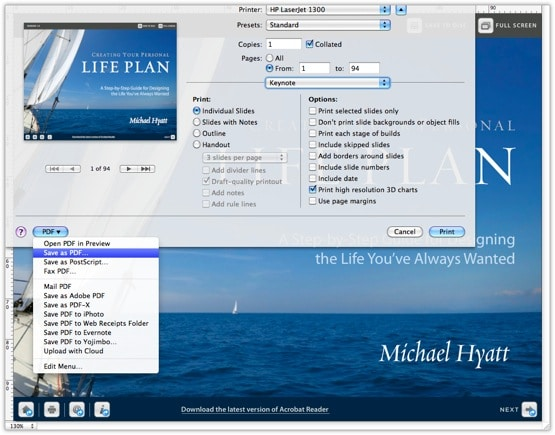Life Plan Export to PDF