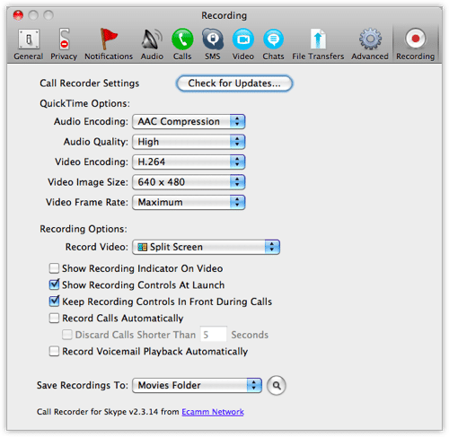 Call Recorder for Skype Preference Screen