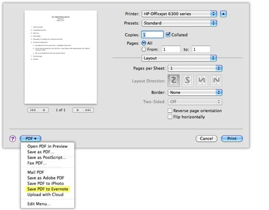 Screenshot of Save PDF to Evernote