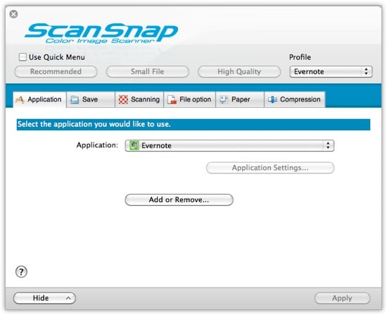 ScanSnap Settings - Tab 1