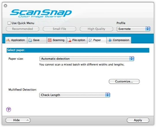 ScanSnap Settings - Tab 4