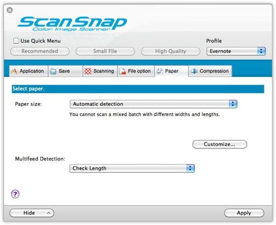 ScanSnap Settings - Tab 4
