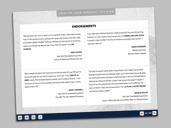 A Page of Endorsements from Creating Your Personal Life Plan