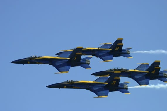U.S. Navy Blue Angels in a Diamond Formation - Photo courtesy of ©iStockphoto.com/yenwen, Image #17487152