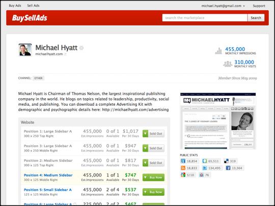 Screenshot of BuySellAds