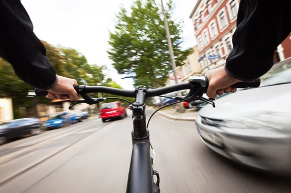 Bicyclist's Viewpoint in a Dangerous Intersection - Photo courtesy of ©iStockphoto.com/TommL, Image #18016654