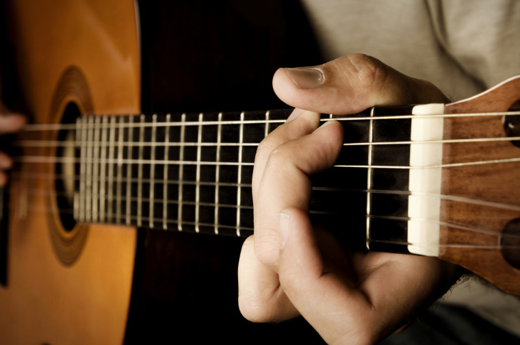 Guitarist Playing Acoustic Guitar