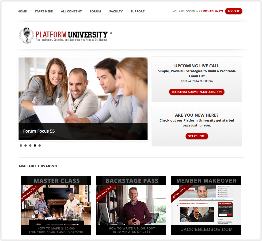 Platform University Members Home Page