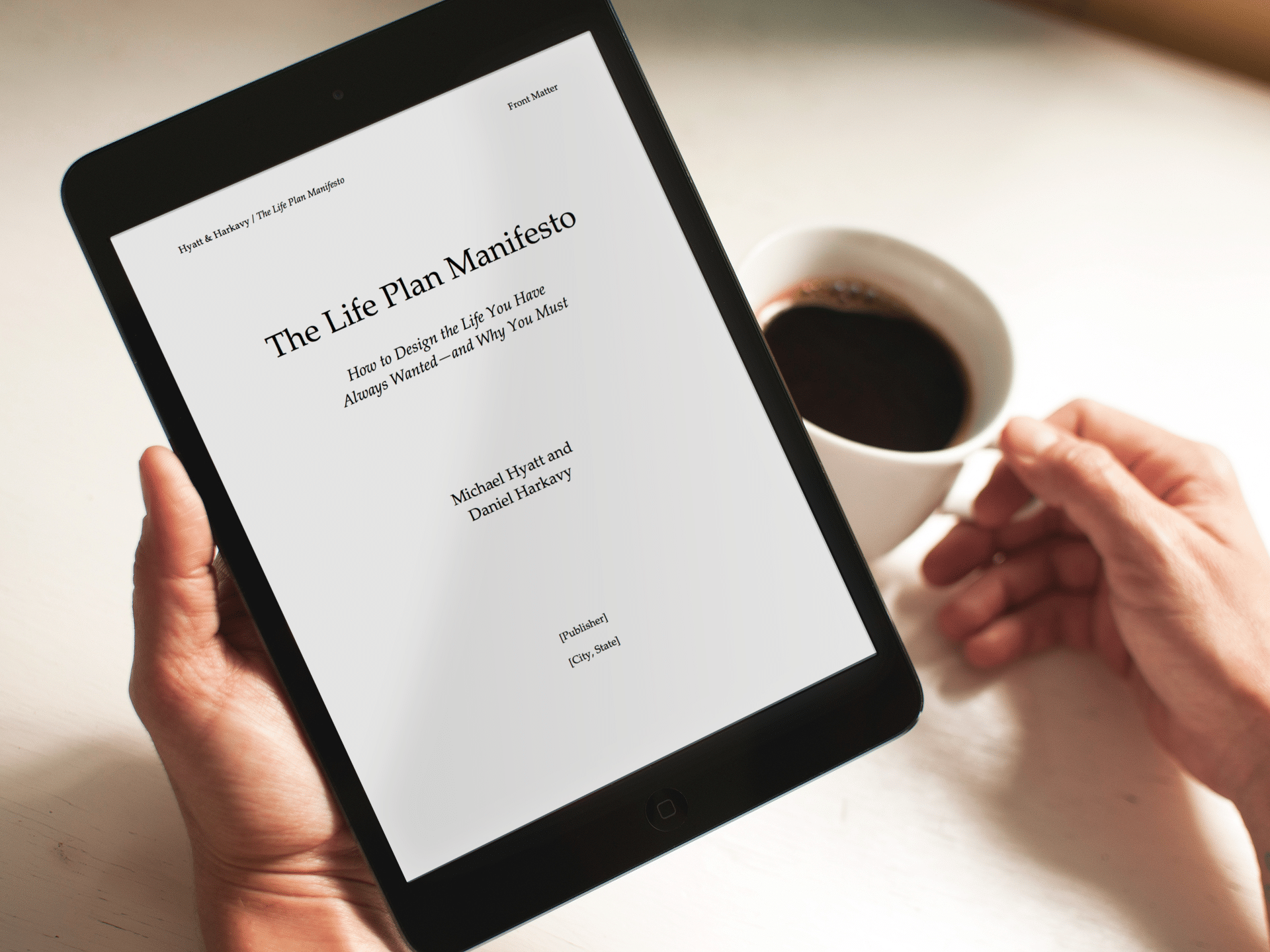 Life Plan Manifesto Manuscript in iPad