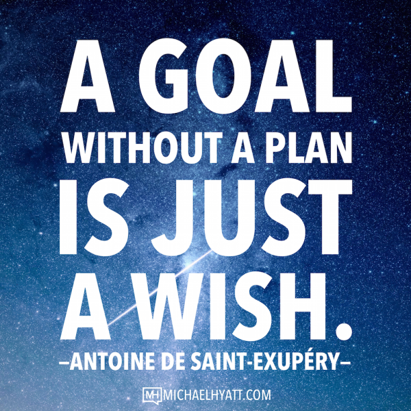 "Quote: ""A Goal without a plan is just a wish"" ~ Antoine de Saint-Exupéry"