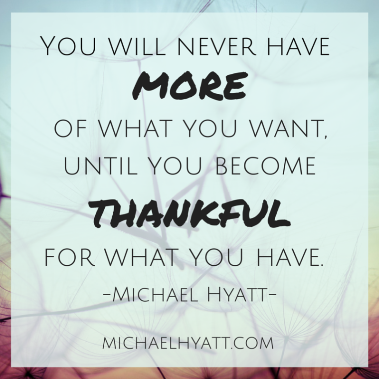 You will never have more of what you want until you become thankful for what you have. -Michael Hyatt
