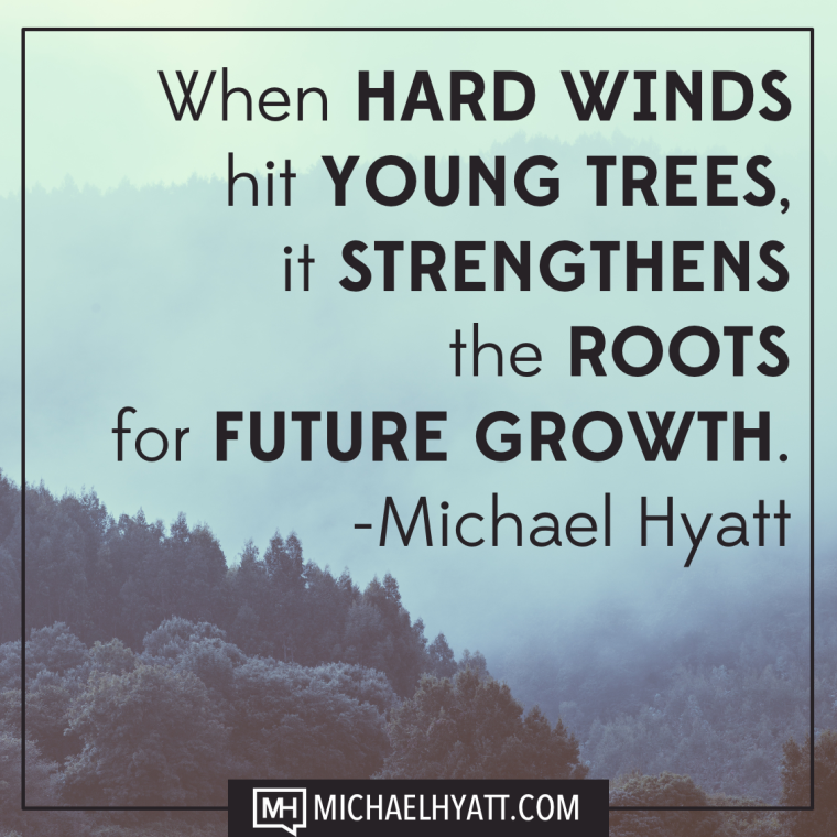 When hard winds hit young trees, it strengthens the roots for future growth. -Michael Hyatt