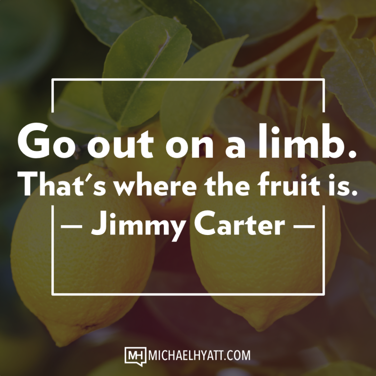 Go out on a limb. That's where the fruit is. -Jimmy Carter