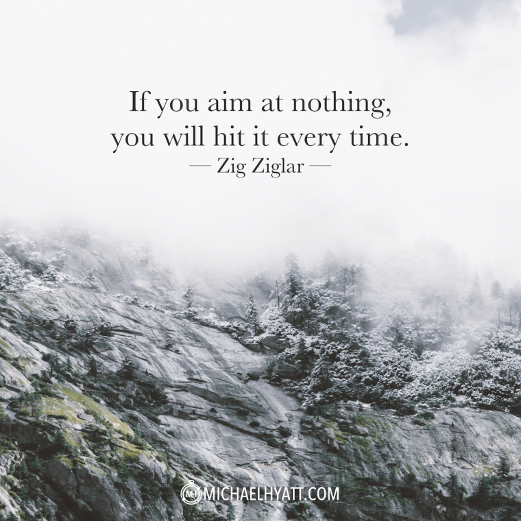 """""""If you aim at nothing, you will hit it every time."""" -Zig Ziglar"""