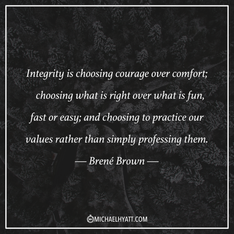 """Integrity is choosing courage over comfort; choosing what is right over what is fun, fast, or easy; and choosing to practice our values rather than simply professing them."" ―Brené Brown"