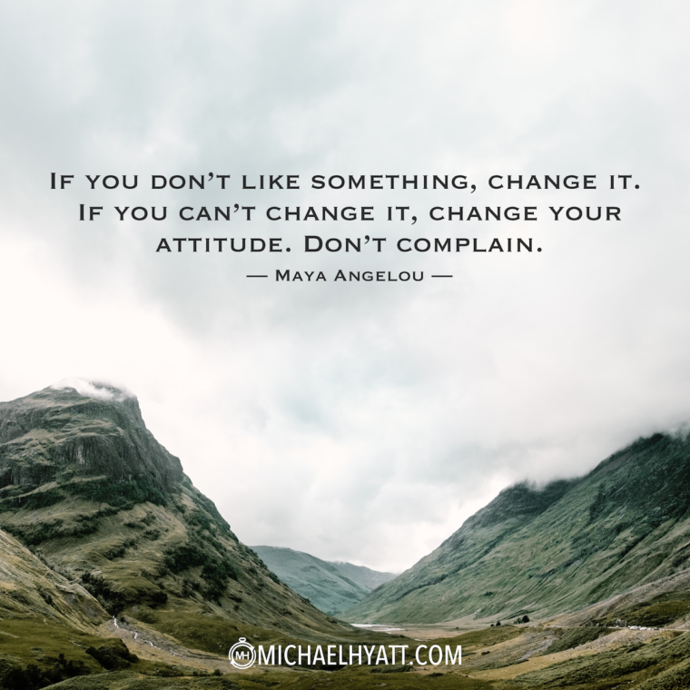 """If you don't like something, change it. If you can't change it, change your attitude. Don't complain."" - Maya Angelou"